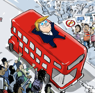 Karikatura - Tramp: Nisam video proteste u Londonu