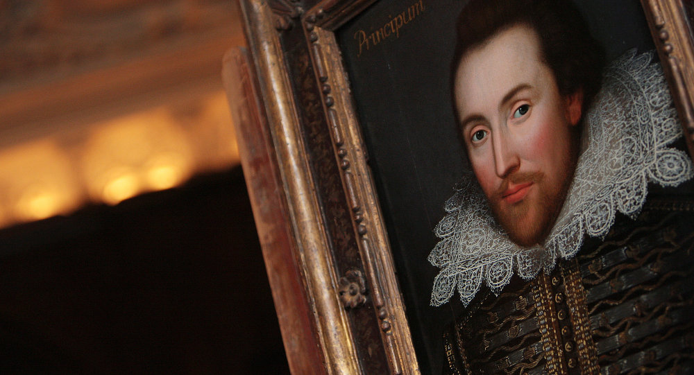 A portrait of William Shakespeare is pictured in London, on March 9, 2009.
