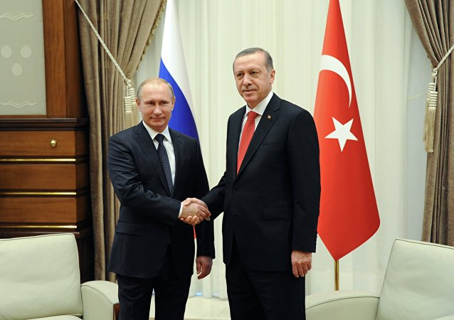 Russian President Vladimir Putin, left, and his Turkish counterpart Recep Tayyip Erdogan shake hands (File)