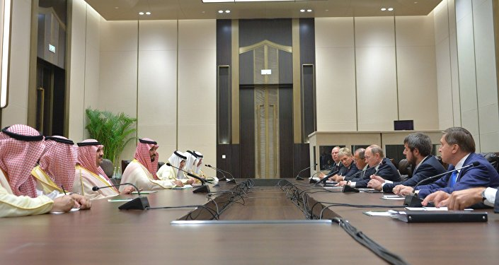 September 4, 2016. Russian President Vladimir Putin, third right, and Deputy Crown Prince and Defense Minister of Saudi Arabia Muhammad bin Salman Al Saud, fourth left, during a meeting as part of the G20 Summit in Hangzhou.