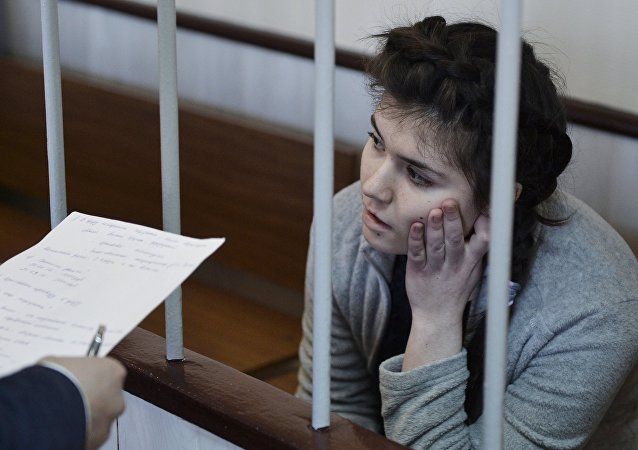 Moscow State University student Varvara Karaulova charged with attempting to join ISIS, at a hearing on her detention extension at the Lefortovsky District Court of Moscow