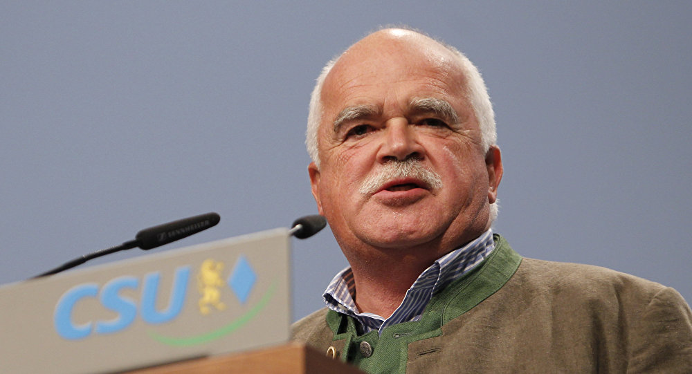 (File) Peter Gauweiler of the German Christian Social Union party, CSU, and member of the German parliament looks on during his speech at a party convention of the German Christian Social Union, CSU, in Nuremberg, southern Germany, on Friday, Oct. 7, 2011