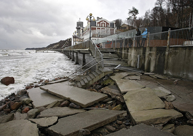 The destroyed esplanade near Grand Palace hotel in Svetlogorsk following a storm that hit Kaliningrad Region's coastal areas.