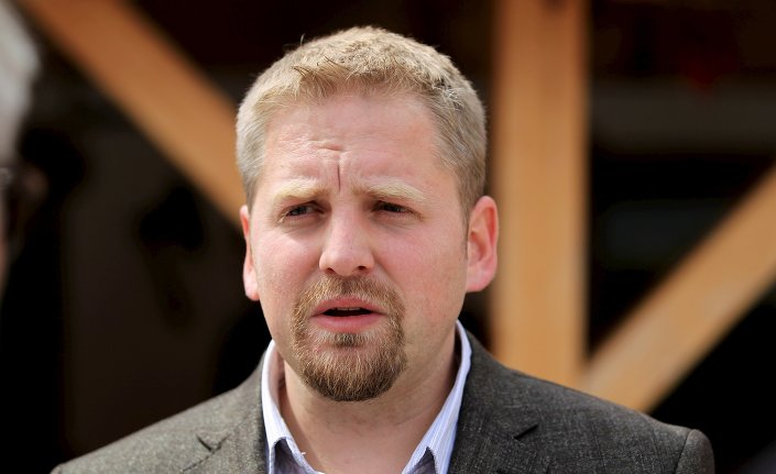 Self-proclaimed president of the Free Republic of Liberland Vit Jedlicka speaks to media in the village of Backi Monostor, Serbia May 1, 2015.