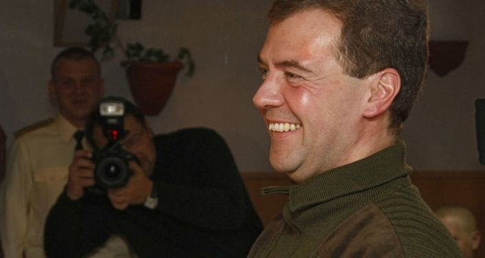 11 October 2008. Russian President and Supreme Commander Dmitry Medvedev aboard the Admiral N.Kuznetsov, an aircraft carrying heavy cruiser in the Barents Sea