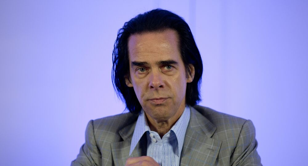 Australian rock musician Nick Cave attends a press conference to promote his concert, in Mexico City, Monday, Oct. 1, 2018