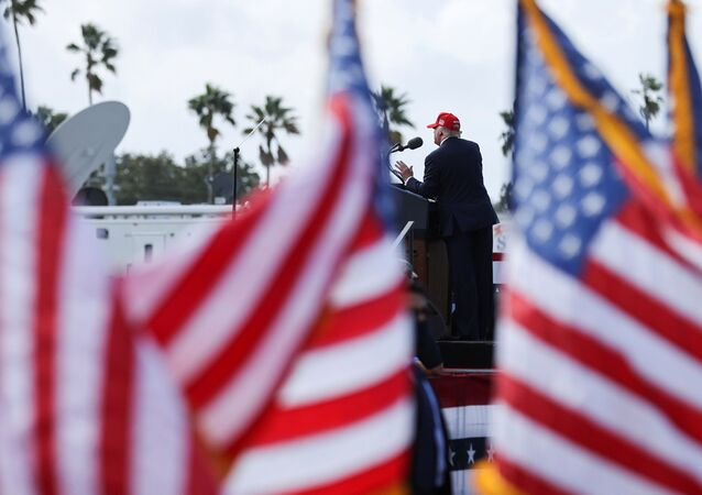 U.S. President Donald Trump gestures as he speaks during a campaign rally outside Raymond James Stadium, in Tampa, Florida, U.S., October 29, 2020.