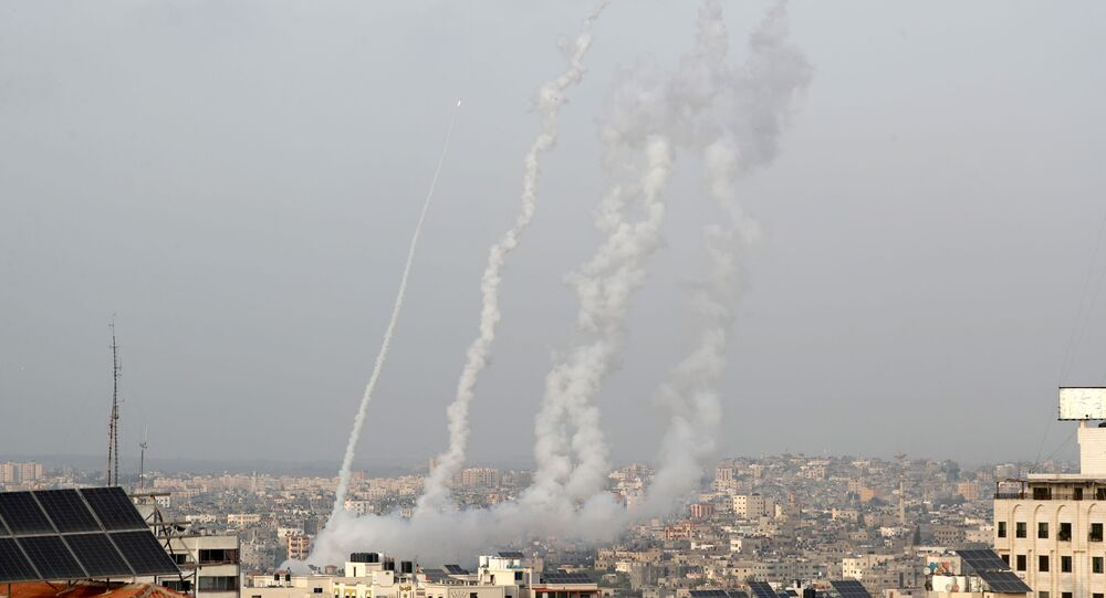 Rockets are launched into Israel amid Jerusalem's tension, in Gaza May 10, 2021