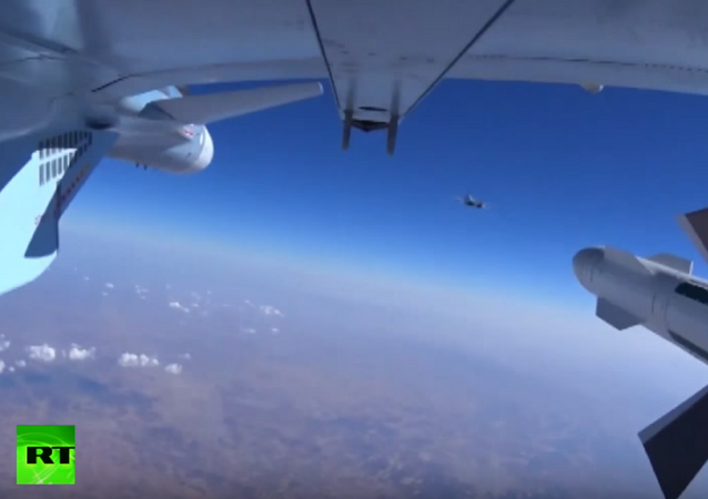 The Russian Defense Ministry released footage on Wednesday of bombs being dropped on targets in Syria.