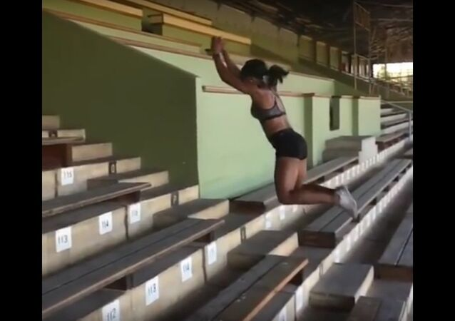 Incredible Stair jump girl jumping like kangaroo by Ezinne Okparaebo
