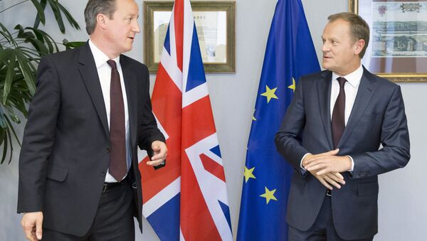 British Prime Minister David Cameron (L) is seen during a meeting with European Council President Donald Tusk in Brussels, Belgium, June 25, 2015. - Sputnik Srbija