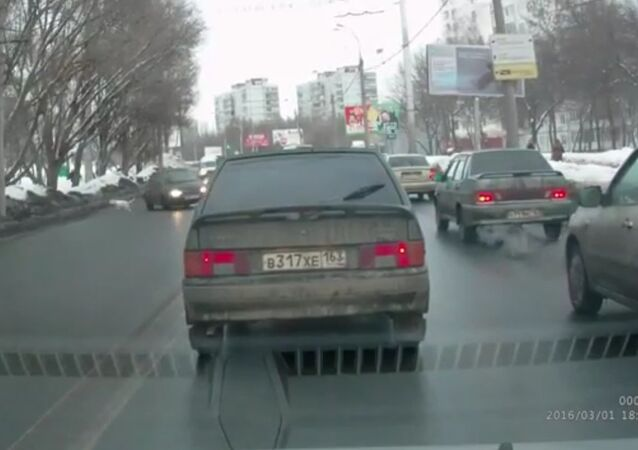 Dog Accident on Road In Russia