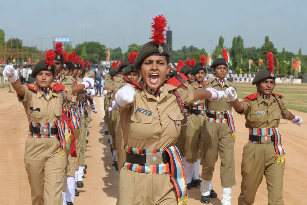 Female National Cadet Corps Commander N.M.R. Sanjana leads a march past during a full dress rehearsal for Independence Day celebrations in Secunderabad, the twin city of Hyderabad, on August 13, 2012