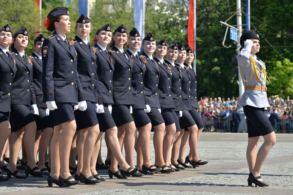 Participants of a military parade marking the 71st anniversary of Victory in the Great Patriotic War, in Voronezh