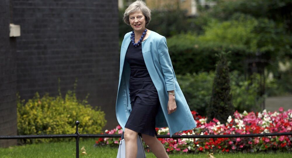 Britain's Home Secretary, Theresa May, arrives in Downing Street in central London, Britain June 27, 2016.
