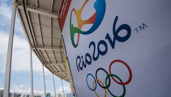A banner with the Olympic logo for the Rio 2016 Olympic Games seen at the Olympic Tennis Centre of the Olympic Park in Rio de Janeiro, Brazil, on December 11, 2016 - Sputnik Srbija