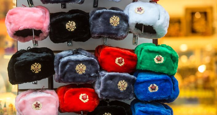 Souvenirs offered on Arbat Street, Moscow