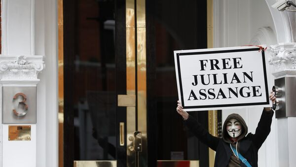 A demonstrator holds up a 'Free Assange' placard outside the front entrance of the Ecuadorian Embassy where Wikileaks founder Julian Assange has been holed out since 2012, in London, Friday, April 5, 2019 - Sputnik Srbija