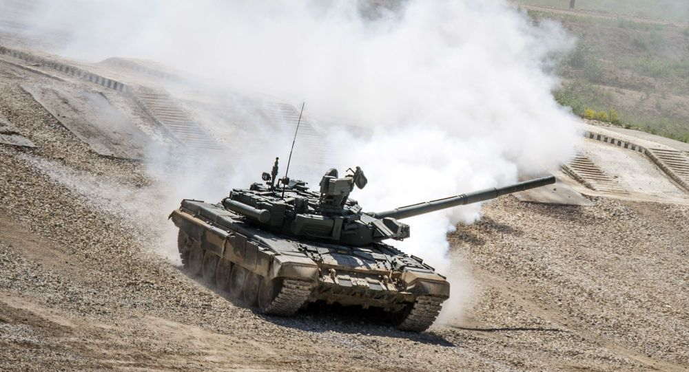 "Tank T-72B3 during equipment demonstration at the International Military-Technical Forum ""ARMY-2015"" in Moscow region"