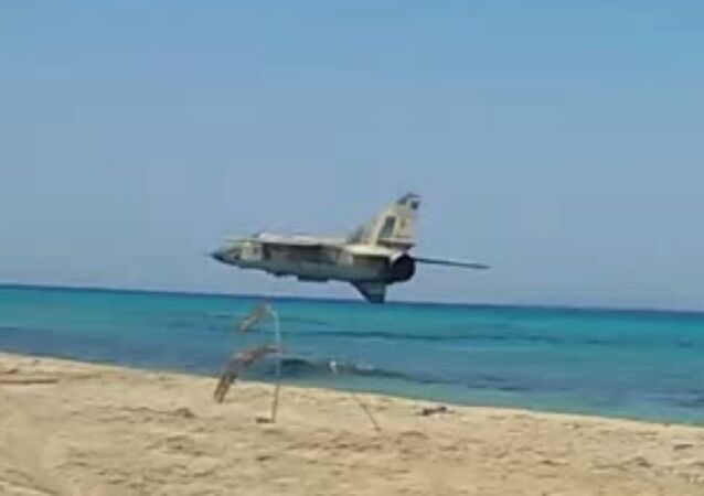 Libya FLAF Mig 23ML insane low pass over the beach